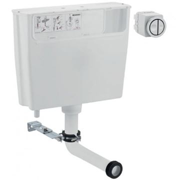 Picture of Geberit  low-height furniture cistern, 6 / 3 litres, remote flush actuation type 01: gloss chrome-plated