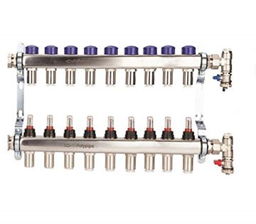 Picture of Polyplumb  15mm Stainless Steel 9 Port UFH Manifold