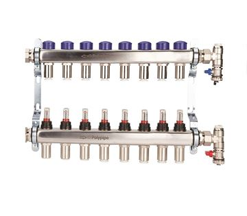 Picture of Polyplumb  15mm Stainless Steel 8 Port UFH Manifold