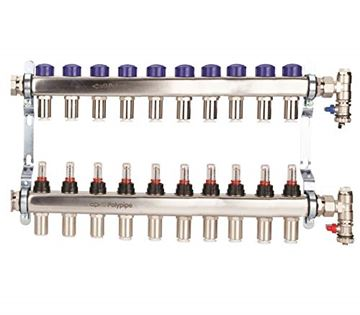 Picture of Polyplumb  15mm Stainless Steel 10 Port UFH Manifold